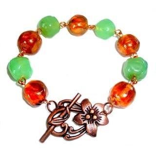 Handmade Antiqued Copper Beaded Bracelet (United States)