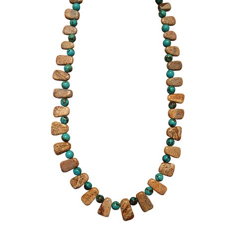 Handmade Beadwork by Julie Nevada Turquoise and Picture Jasper Necklace