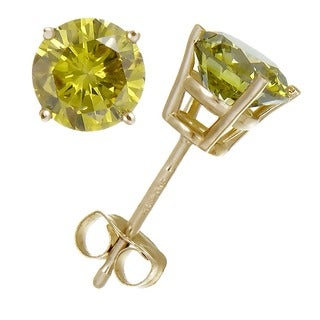 14K Gold High Polish Yellow Damond Stud Earrings