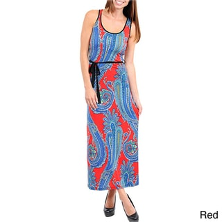 Stanzino Women's Paisley Print Maxi Dress with Sash