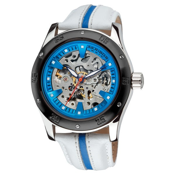 Akribos XXIV Men's Skeleton Automatic Retro Strap Watch