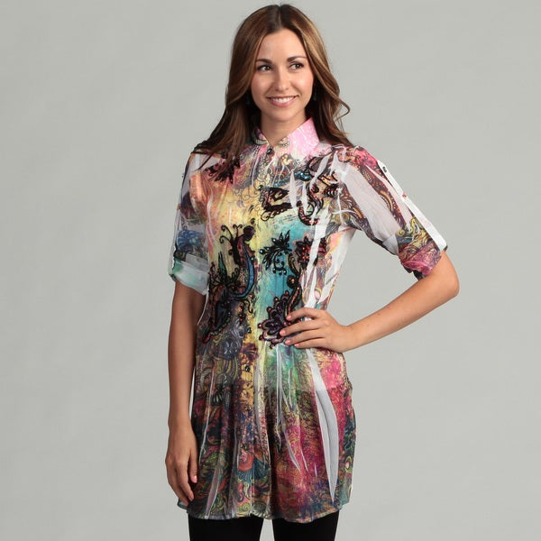 Spy Women's Sheer Floral Blouse