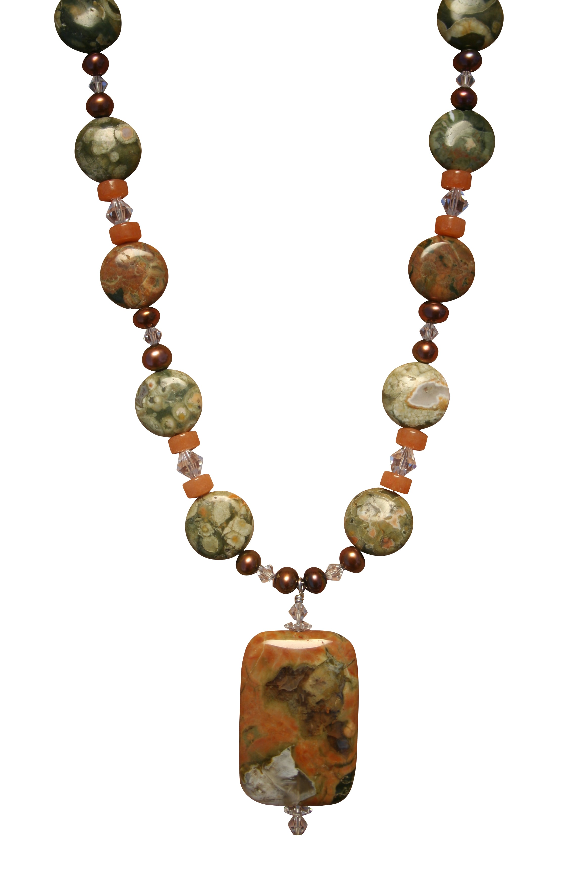Beadwork By Julie Rainforest Jasper and Freshwater Pearl Necklace