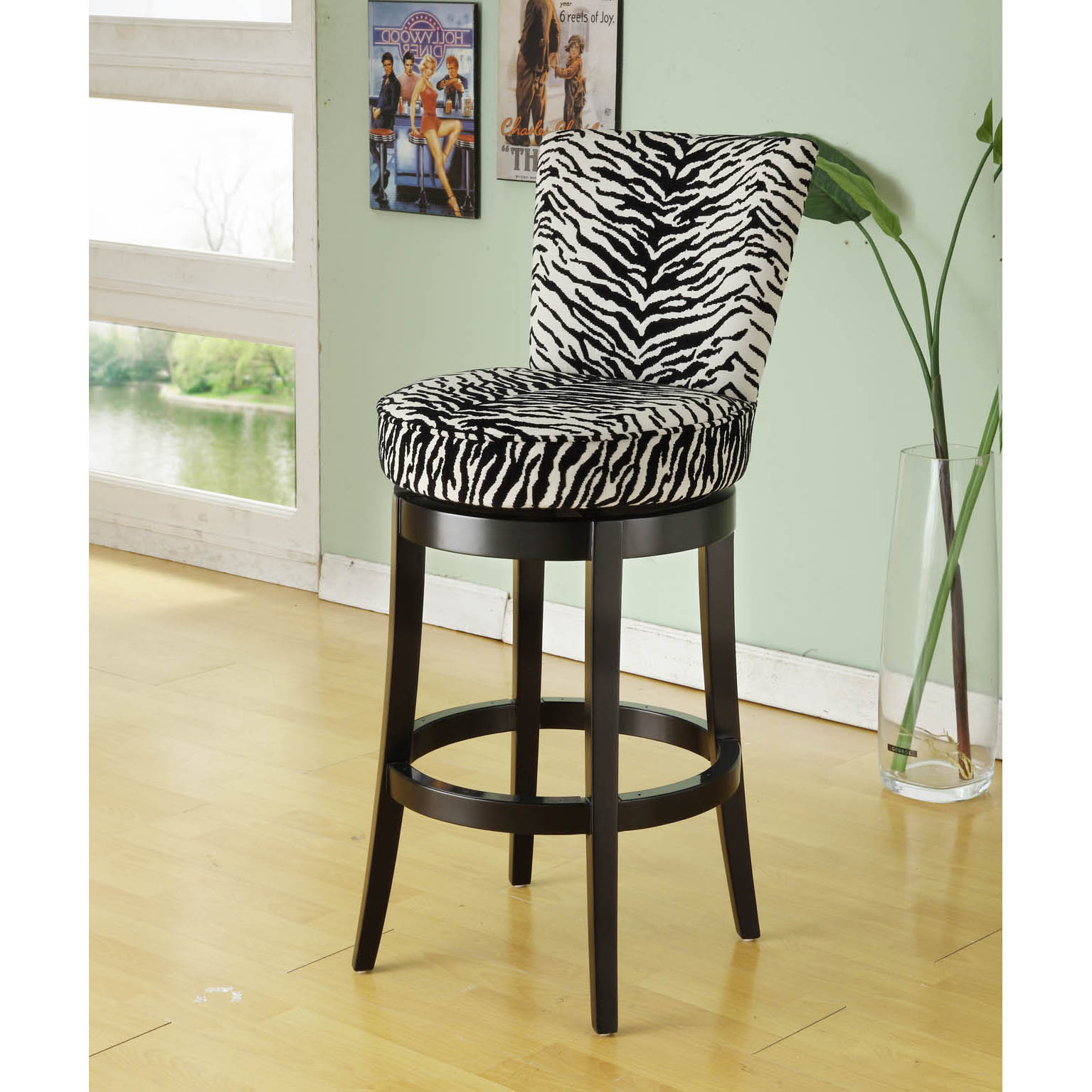 Zebra Print Black Wood Swivel Barstool Free Shipping