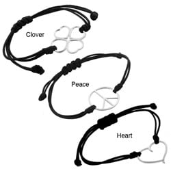 Sterling-silver Large Cutout Bracelet with Black Leather Cord