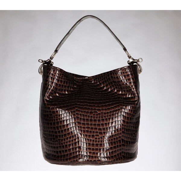 Vintage Reign 'Shani' Brown Leather Bucket Bag