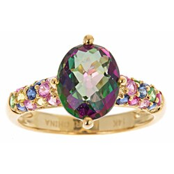 Anika and August 14k Yellow Gold Mystic Topaz and Natural Sapphire Ring