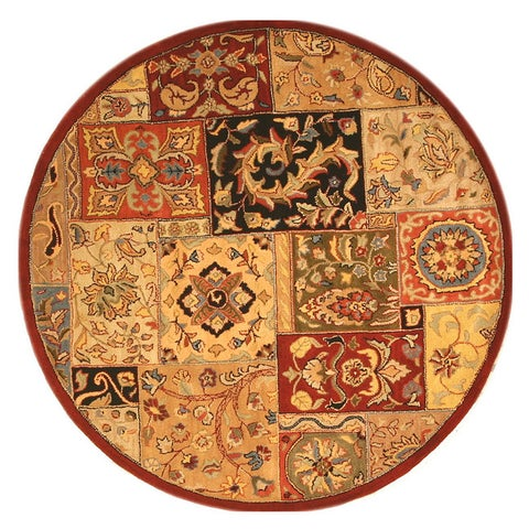 EORC T54RD Hand-tufted Red Wool Lasi Rug (6' Round) - 6' Round