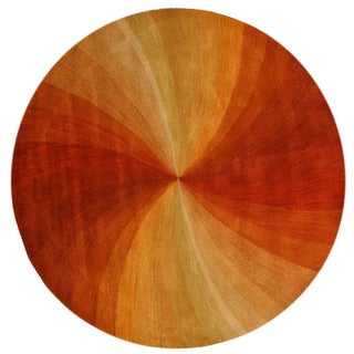 Hand-tufted Wool Orange Contemporary Abstract Swirl Rug (4' Round) - 4' Round