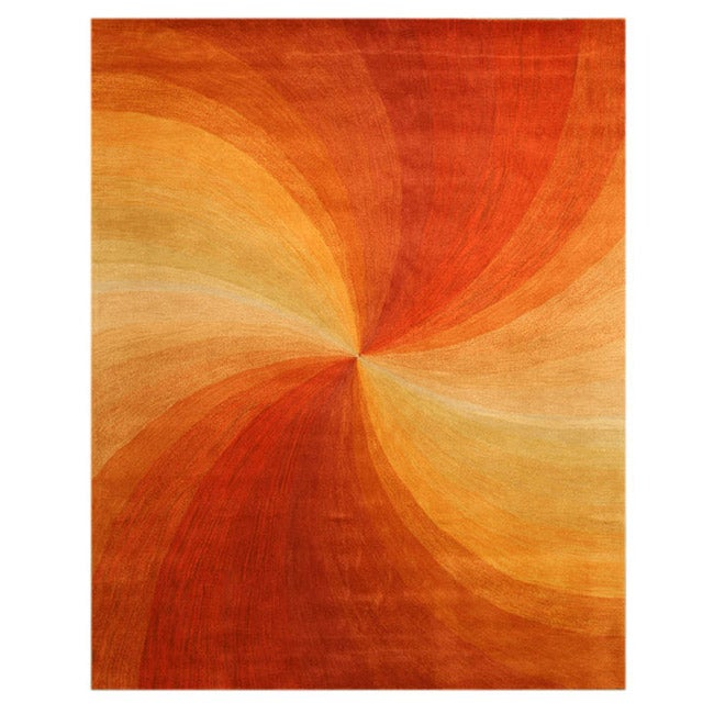 EORC Hand-tufted Wool Red Red Swirl Rug (5' x 8')