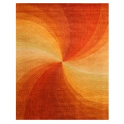 Hand-tufted Wool Orange Contemporary Abstract Swirl Rug - 5' x 8' - Thumbnail 0
