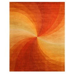 Hand-tufted Wool Orange Contemporary Abstract Swirl Rug (8'9 x 11'9)