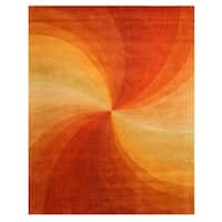 Hand-tufted Wool Orange Contemporary Abstract Swirl Rug (8'9 x 11'9) - 8'9 X 11'9