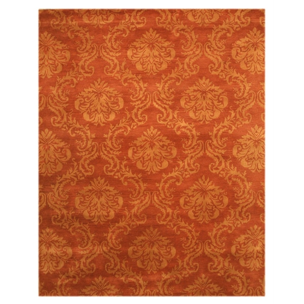 Hand-tufted Wool Rust Contemporary Abstract Mona Rug - 7'9 x 9'9