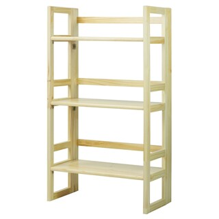 3-Shelf Folding 20.75-inch Wide Wood Student Bookcase (Option: Natural - Natural Finish)