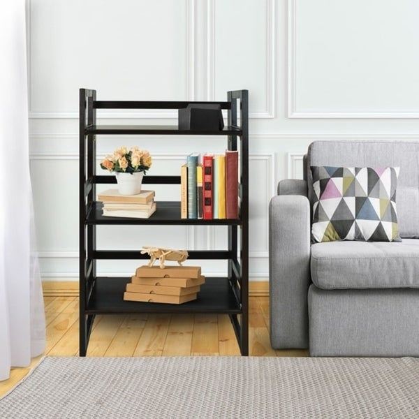 shop 3 shelf folding student wide bookcase free shipping today overstock 6805325. Black Bedroom Furniture Sets. Home Design Ideas