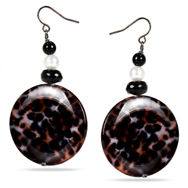 Miadora Black-plated Leopard Print Bead Onyx, and FW Pearl Earrings (7-7.5 mm)