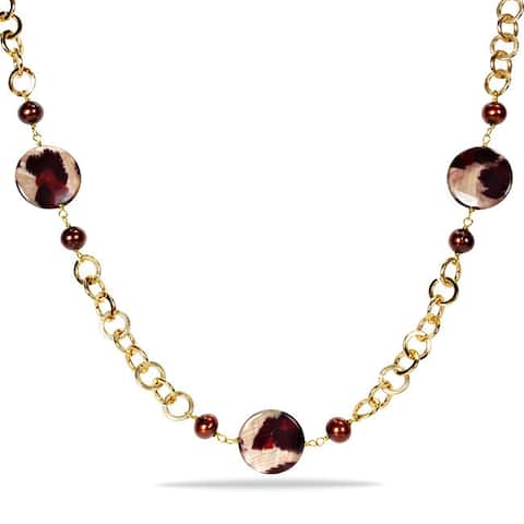 Miadora Goldtone Brown FW Pearl and Leopard Print Bead Necklace