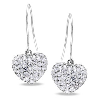 Miadora Sterling Silver 2 5/8ct TGW Created White Sapphire Heart Earrings