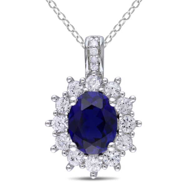 Miadora Oval-Cut Created Blue and Created White Sapphire With Diamond Accent Halo Necklace in Sterling Silver (G-H,I2-I3)