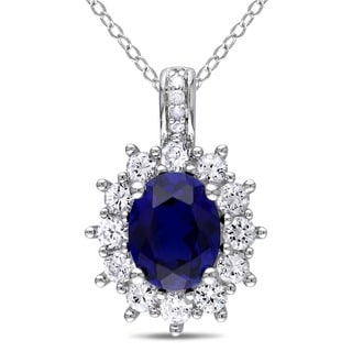 Miadora Sterling Silver Created Blue and White Sapphires and Diamond Accent Halo Necklace (G-H, I2-I3)