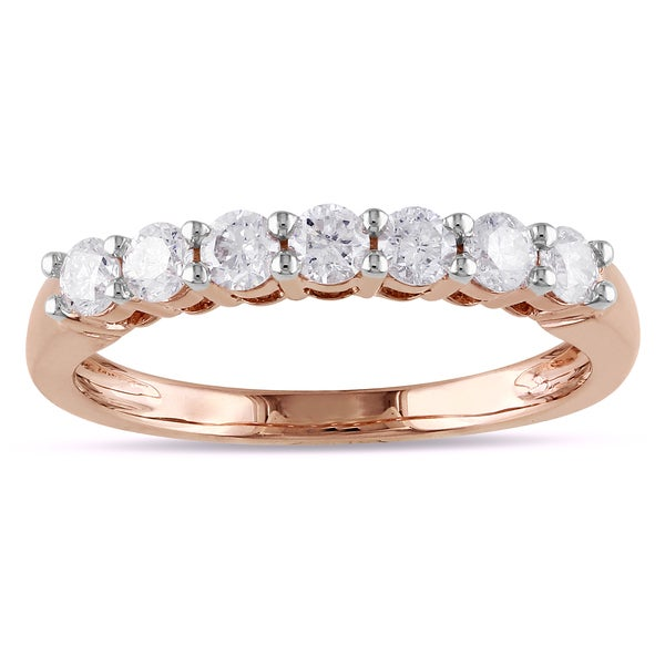Miadora  14k Pink Gold 1/2ct TDW Certified Diamond Anniversary Ring (G-H, I1-I2)