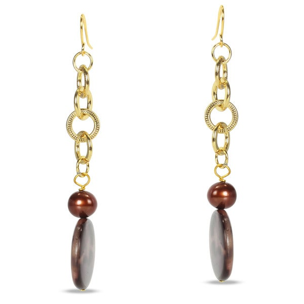 Miadora Goldtone and Copperplated Leopard Print Bead and Pearl Earrings (7-7.5 mm)