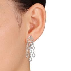 Miadora Sterling Silver Diamond Accent Dangle Earrings