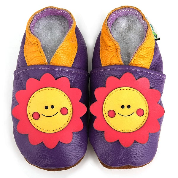 Smiley Sunflower Soft Sole Leather Baby Shoes
