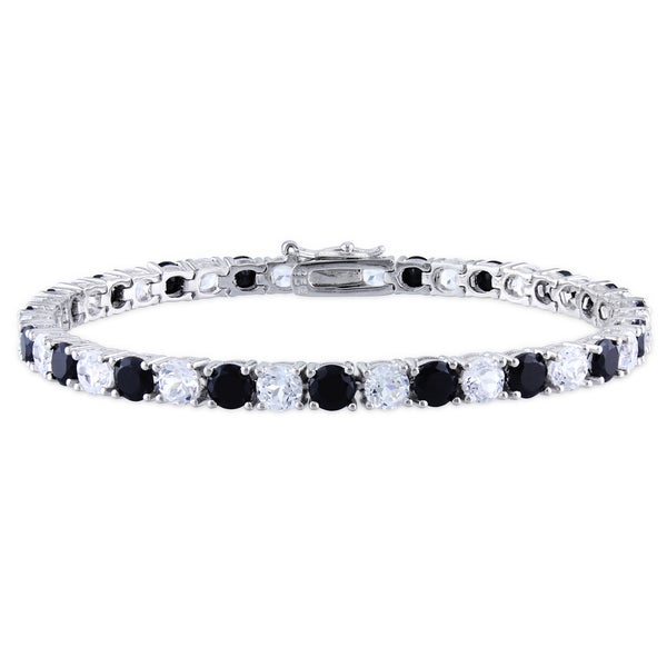 Miadora Silver 14ct TGW Black Spinel and Created White Sapphire Bracelet
