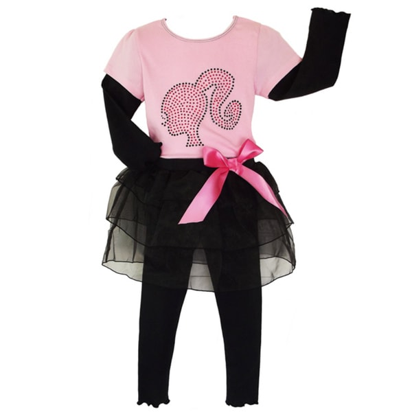 AnnLoren Girls' 2-piece Barbie Outfit with Tutu Leggings