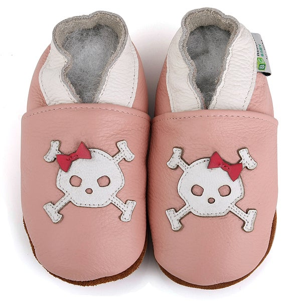 Pink Bow Skull Soft Sole Leather Baby Shoes