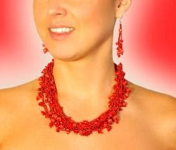 Luzy Coral and Glass Bead Necklace (Guatemala) - Thumbnail 1