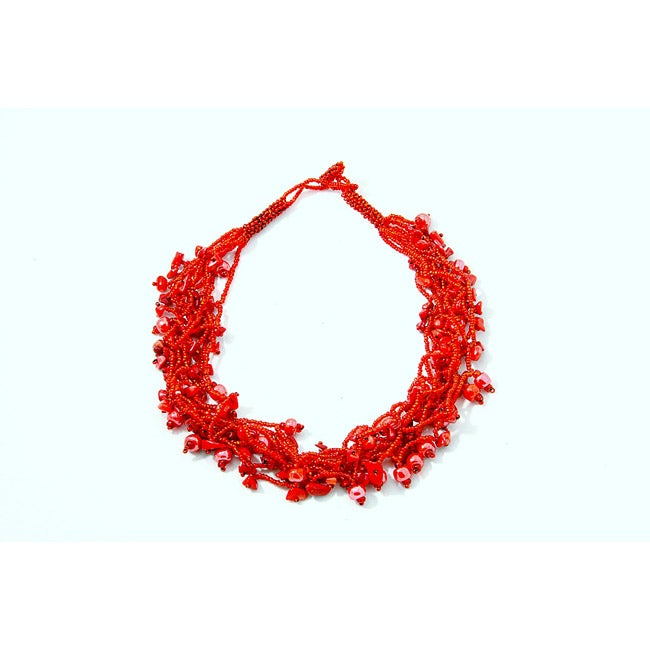 Luzy Coral and Glass Bead Necklace (Guatemala) - Thumbnail 0