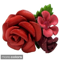 Handmade Serene Rose Bouquet White Leather Free Size Ring (Thailand)