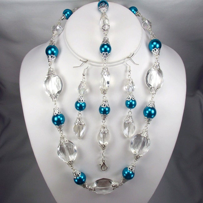 Teal Blue Pearls and Clear Oval Crystal Wedding Jewelry Set