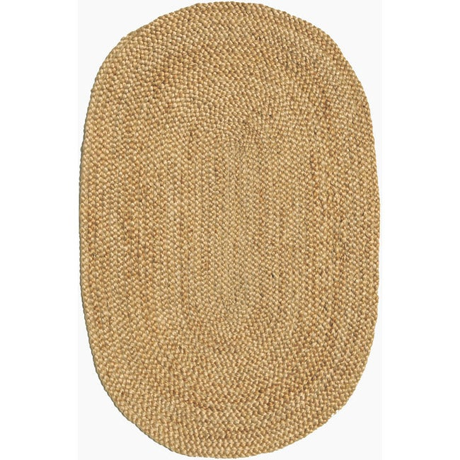 Hand braided Beige Jute Rug 6 x 9 Oval Free Shipping