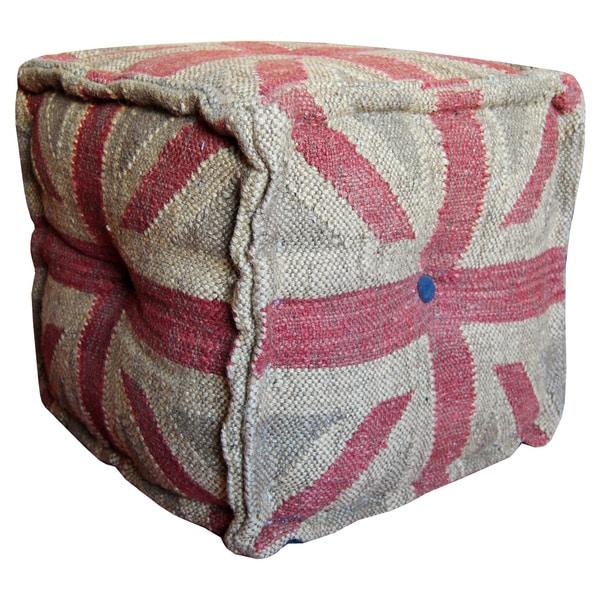 Handmade Herat Oriental Handmade Kilim Upholstered Ottoman Pouf  (India)