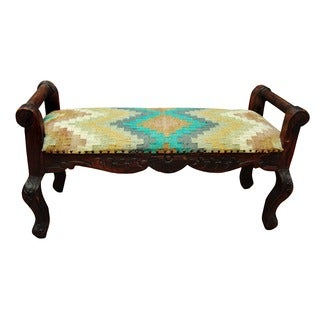 Herat Oriental Handmade Kilim Upholstered Scroll Bench (India)