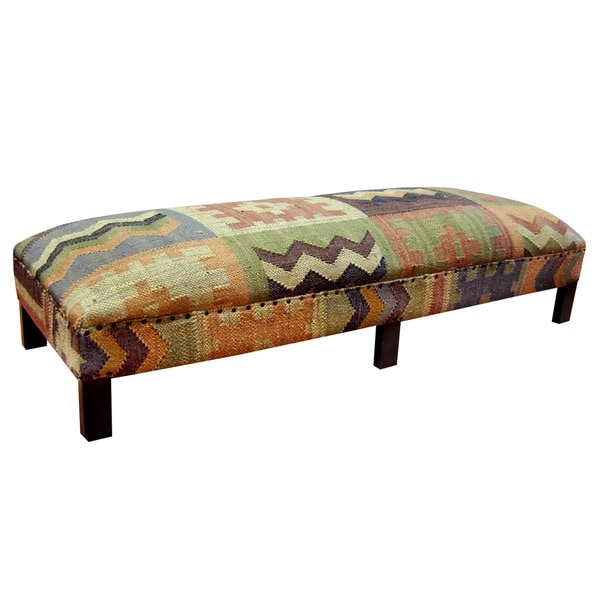 Herat Oriental Handmade Kilim Upholstered Geometric Low Bench (India)