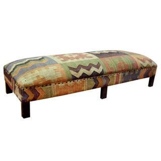 Herat Oriental Handmade Kilim Upholstered Geometric Low Bench (India)