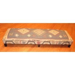 Herat Oriental Handmade Traditional Kilim-upholstered Sheesham Wood Low Bench (India) - Thumbnail 1