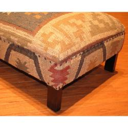 Herat Oriental Handmade Traditional Kilim-upholstered Sheesham Wood Low Bench (India) - Thumbnail 2