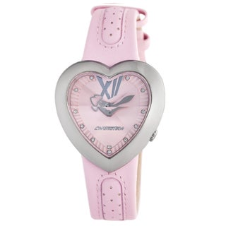 Chronotech Kids' Pink Dial Heart Shaped Leather Quartz Watch