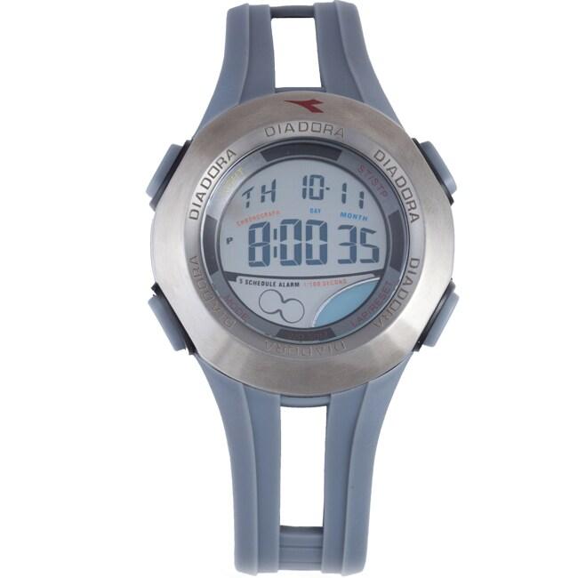 Diadora Men's Dual Time Display Grey Dial Rubber Digital Alarm Watch
