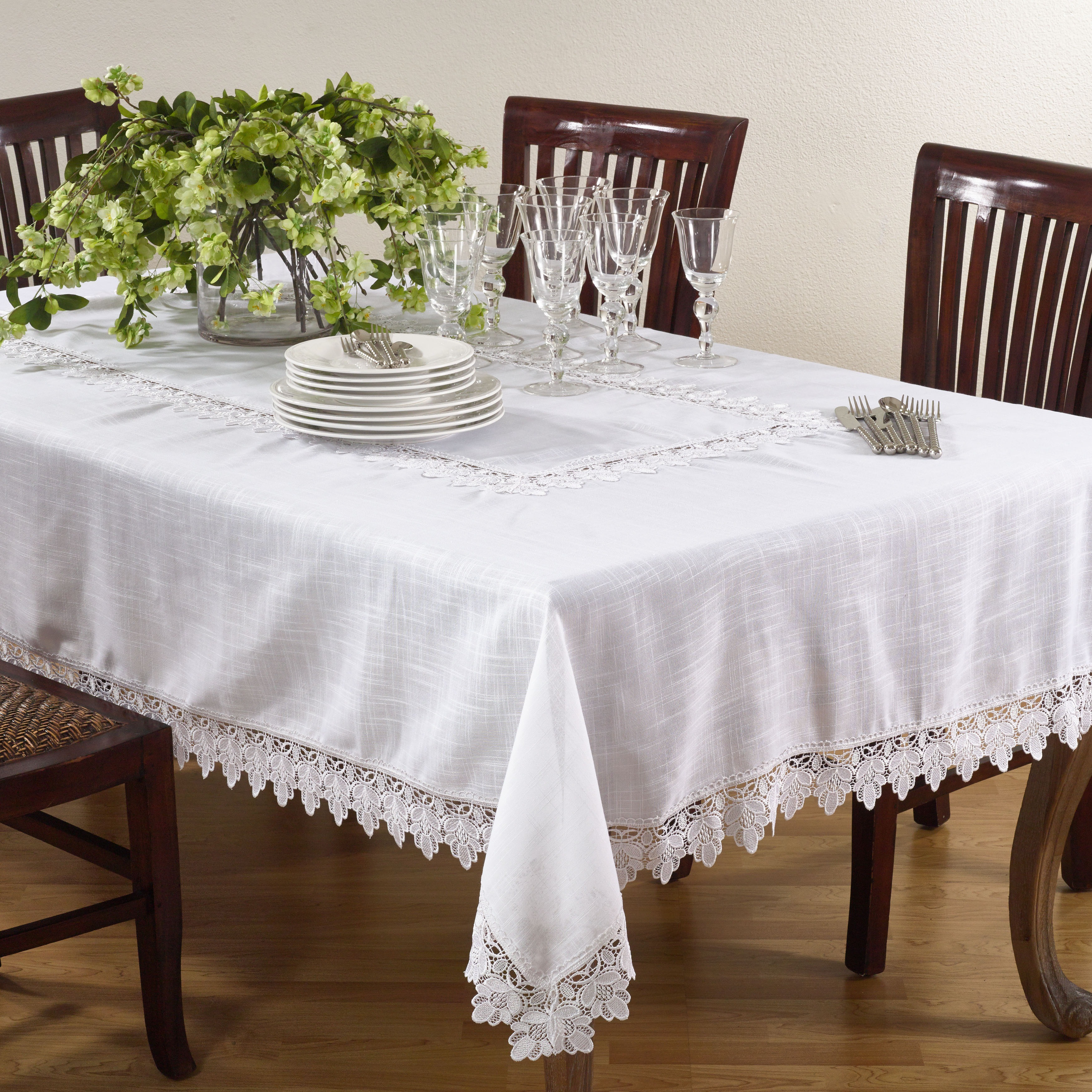 Lace Trimmed Tablecloth Overstock 6805599