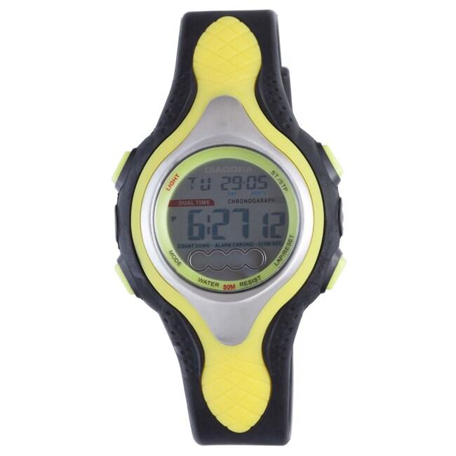 Diadora Men's Dual Time Grey Dial Rubber Alarm Watch
