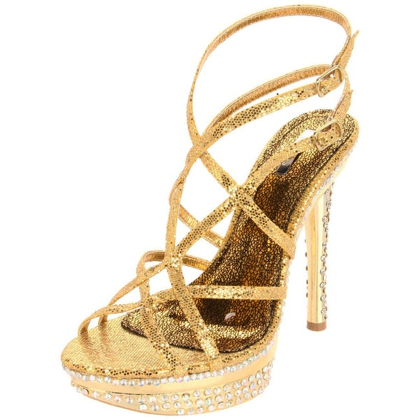 Shop Celeste Women s  Natalie-06  Gold Rhinestone Heels - Free ... 0abe9678b041
