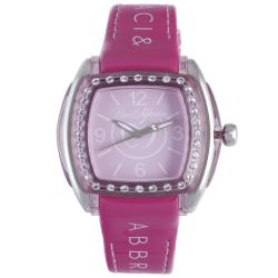 Baci Abbracci Women's Pink Patent Leather Crystal Bezel Watch