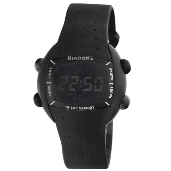 Diadora Men's Black Dial Black Rubber Digital Date Watch